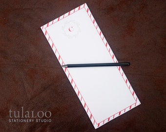 Holiday Candy Cane Personalized Notepad