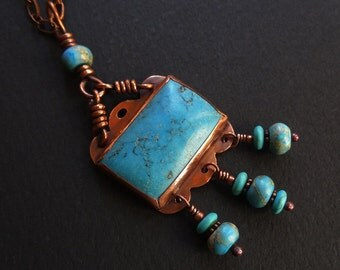 Rectangle Dangle Pendant Copper & Aqua Necklace