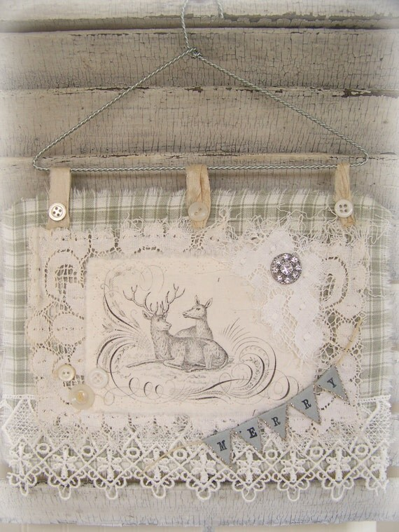 Winter White  Christmas Reindeer  Decoration Christmas Collage Hanging Vintage Style Fabric Collage  Silver White Christmas Vintage Reindeer