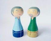 Personalized couple same sex Custom gay couple portrait - Cake Topper - FREE SHIPPING Personalized - Wooden art doll hand painted blue teal