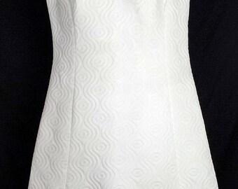 Vintage  White Knit Mini Sleeveless Dress Misses S 60s
