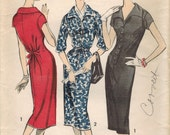 1950s Advance 8620 Vintage Sewing Pattern Misses Slim Step-in Dress Size 12  Bust 32