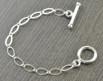 Valentine's Day gift Sterling silver Toggle clasp 4 inch necklace extension gifts for her