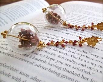Bonnie Lass Earrings - 24k Gold Garnet Gemstone Earrings -  BOHO Chic - Real Scottish Heather - Apothecary Earrings - READY to SHIP