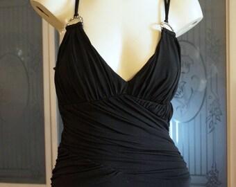 Vintage Rhinestone Spandex Grecian Evening Gown New Years Eve Dress