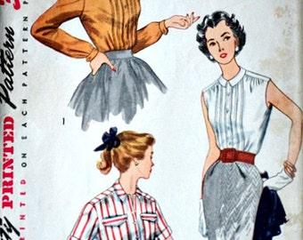 Simplicity 4195 Vintage 50's Sewing Pattern, Misses' Blouse, Size 16, 34 Bust, Uncut