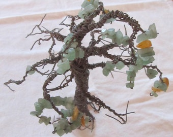vintage TREE OF LIFE copper wire sculpture with citrine and jade nuggets