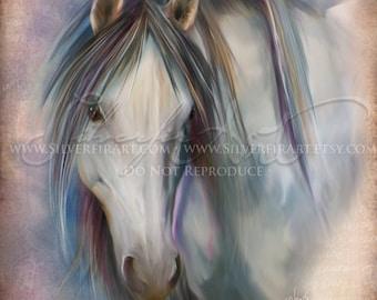 Eira... Horse Sketch... Mustang Wildlife Study Painting Print... 8x10 Print
