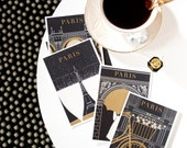 SALE! Paris Note Card Set, Paris Greeting Cards, Greeting Card Set, Blank Notecards, Black and Gold Notecards