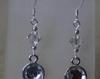 Crystal Silver Crystal Drop Silver Earrings