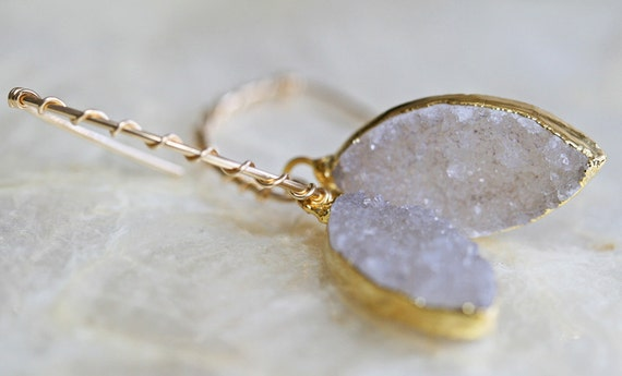 Druzy Earrings - Light Grey White Druzy Earrings - Drusy Earrings - Geode Earrings-- Ready to Ship -