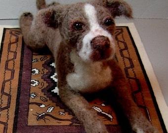 Custom Pet Portrait needle felted dog sculpture Pit Bull