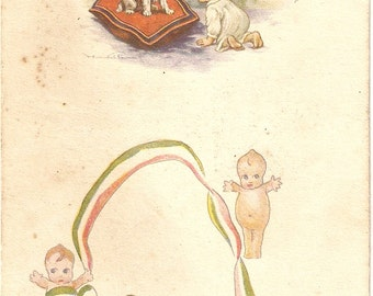 Puppy, Baby postcard - Vintage Postcard - Puppy Dog and Baby, little dolls  vintage Italian postcard