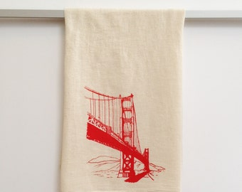 Flour Sack Dish Towel - Golden Gate Bridge in red ink - San Francisco Bay Area Landmark dishtowel