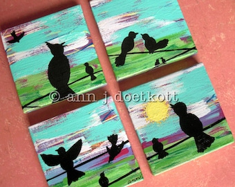 Birds on a Wire in the Country Sun .. 4 mini paintings .. Collection .. Scenic birdie silhouettes in a colorful sunset sunrise landscape