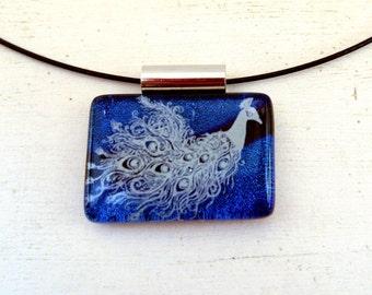 Peacock Necklace | Fused Glass | Bird Pendant | Blue Purple Jewelry | Feather Accessory | Peacock Art | Victorian Style | Art Nouveau