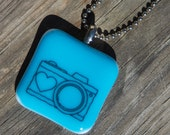 Fused Glass Pendant - Camera - black on bright blue