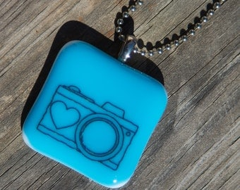 Fused Glass Pendant - Camera - black on bright blue