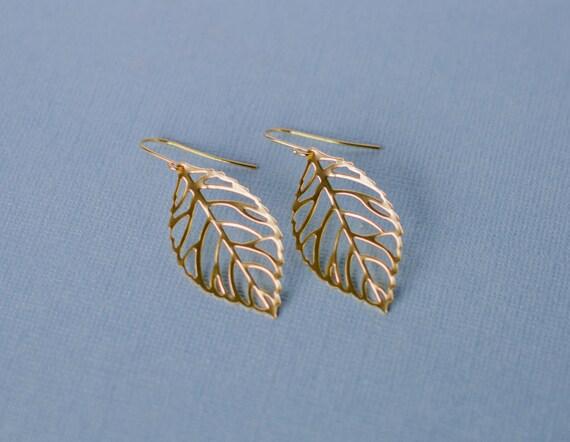 Leaf earrings, Gold, metal, silhouette, nature inspired, forest woodland, charm, jewelry, Handmade in Santa Cruz