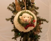 Sheep Ornie, Felted Sheep,  Needle Felted Fat Sheep Ornament  #271