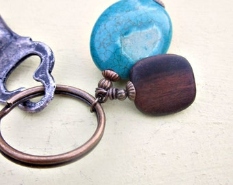 Rustic Brass Keyring or Purse Charm with Turquoise and Wood Beads: Element