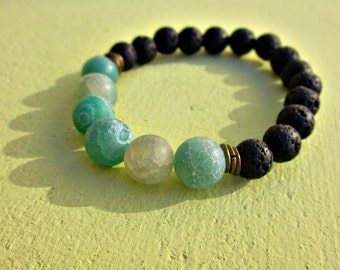 Unisex Stretch Bracelet with Blue Agate and Black Lava Beads: Cyprus