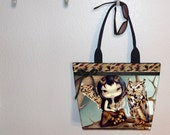 Owlyn Owl Fairy tote bag,  Jasmine Becket Griffith, book tote, large purse, canvas tote, shoulder bag