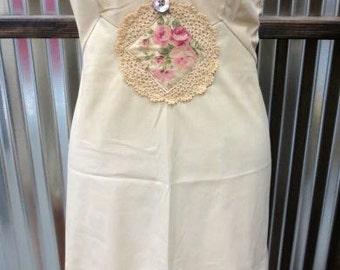 Upcycled Vintage Slip Dress Slipdress Alternative Bride Beach Wedding Bridal Lingerie Prairie Mori Girl Cowgirl Bride