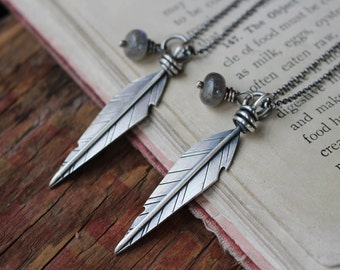 rustic sterling silver feather necklace with labradorite bead - HEAL or personalized with your custom word