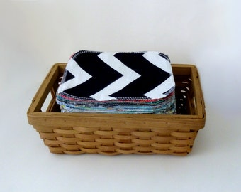 Cloth Wipes - 15 Modern Mixed Wipes - Neutral Flannel Double Layer Wipe Set - 15 - 20 Family Cloth Wipes - Reusable Toilet Paper