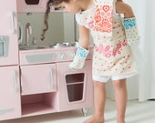 Mini Kitchen:  Apron, Oven Mitts(2) & Tea Towel for your Little Chef