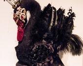 RESERVED FOR AJ - Black and Red Swan Inspired Headpiece. Gala Nocturna Swan Princess. Swan Fascinators. Swan Headdress. Black Swan Hat.