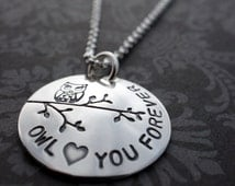 Woodland Owl Jewelry - Owl Love You Forever Necklace in Sterling Silver - Hand Stamped Owl Charm Necklace by Eclectic Wendy Designs