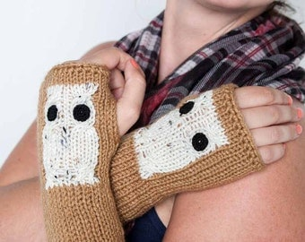 Knit Fingerless Gloves Knit Gloves Knit Arm Warmers Fingerless Mittens Knit Hand Warmers Knit Wrist Warmers Knit Owl Gloves Warm Brown