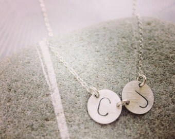 Personalized initial necklace, monogram necklace, double initials necklace for mom, modern circle initial necklace
