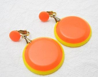 Vintage Orange Earrings Neon Mod Jewelry E6433