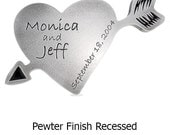 Carved Heart and Arrow Plaque Wedding Anniversary Gift With Love 10x7 inches