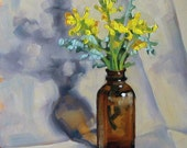 Floral Oil Painting, Still Life, Original Art, Collectable, Daily Painting, Glass Bottle