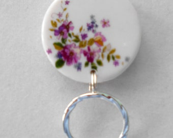 Magnetic or PIN ID Name Badge Holder or  Reading /Sun Glasses  Holder  White Pink Floral  ARFP  & Free Extra Magnet