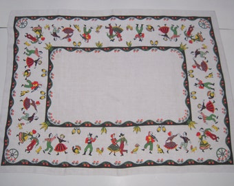 Vintage Tablecloth Square Dance in the Barn