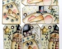 Whimsical Snowman Mixed Christmas Tags #13