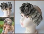 Girl's Ear Warmer/Headband, Oatmeal  Headband, Ear-warmer Barley Flower,  Girls Ear Warmer, Crochet Headband, One Size Fits 4 years to Teen