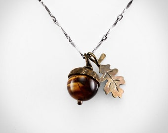 Acorn Pendant Necklace with Tiger's Eye