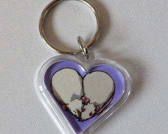 SALE 10% off - Cute Rat Heart Keychain - Pre made and ready to ship