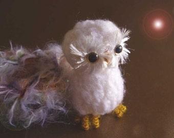 Miniature Mini Snowy White Owl With Nest OOAK