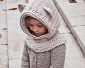 Instant download -  Crochet PATTERN (pdf file) - Polar Bear Hooded Cowl (baby to adult)