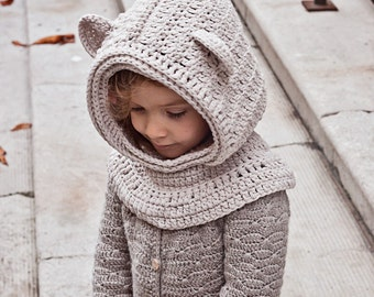 Crochet Baby Bear Cowl Pattern : Hooded cowl pattern Etsy