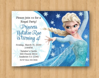 10 - PRINTED Frozen Theme Elsa Movie Birthday Party Personalized Invitations with Envelopes