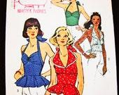 Vintage 1970s Halter Top Pattern Simplicity Misses size 10 Womens Sweetheart Neckline Halter Top Vintage Sewing Pattern