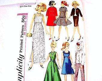 1960s Barbie Clothes Pattern fits Barbie Midge Mitzy Tammy Doll Patterns Teen Doll
